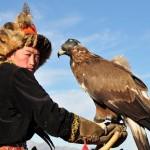 A vista de águila en Mongolia