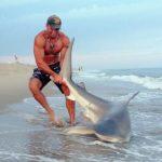 Hombres ayudan a tiburon ensartado en anzuelo
